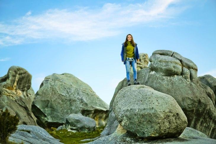 Manu on her boulder